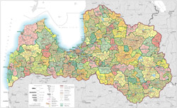 Large detailed administrative map of Latvia with roads.