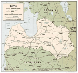 Political map of Latvia.