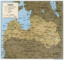 Political map of Latvia with relief, roads and cities.