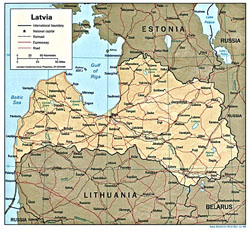 Political map of Latvia with relief.