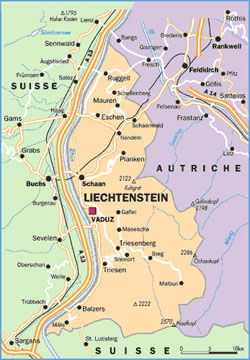 Small political map of Liechtenstein.