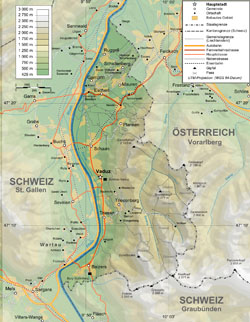 Topographical map of Liechtenstein.