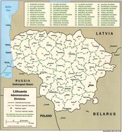 Administrative map of Lithuania.