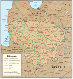 Detailed political and administrative map of Lithuania with relief, roads and cities.