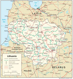 Detailed political and administrative map of Lithuania with roads and cities.