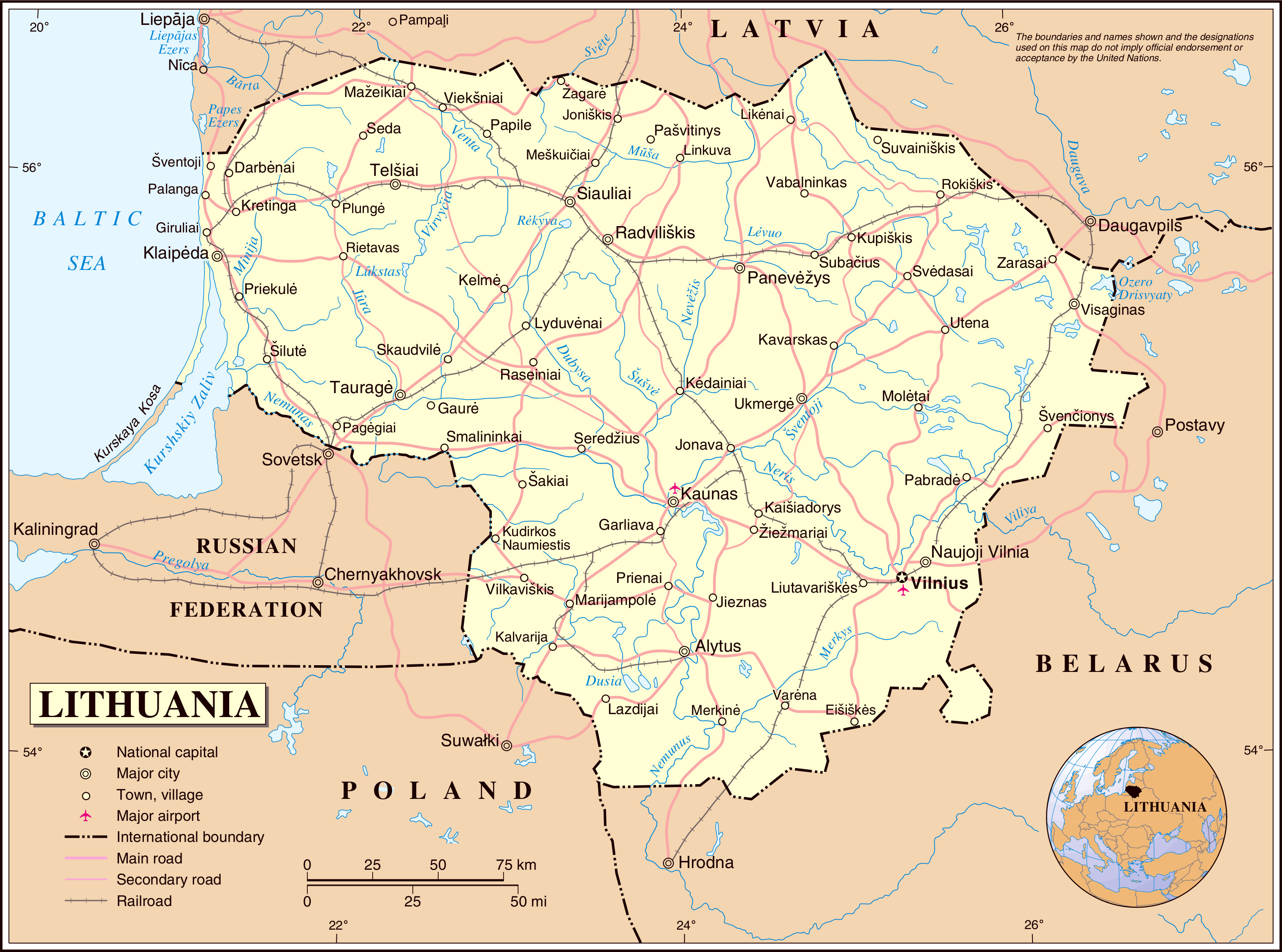 Maps of Lithuania Detailed map of Lithuania in English Tourist