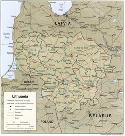 Political and administrative map of Lithuania with relief, roads and cities.