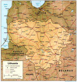 Political map of Lithuania with relief, roads and cities.