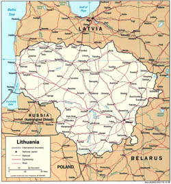 Political map of Lithuania with roads and cities.