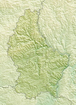 Relief map of Luxembourg.