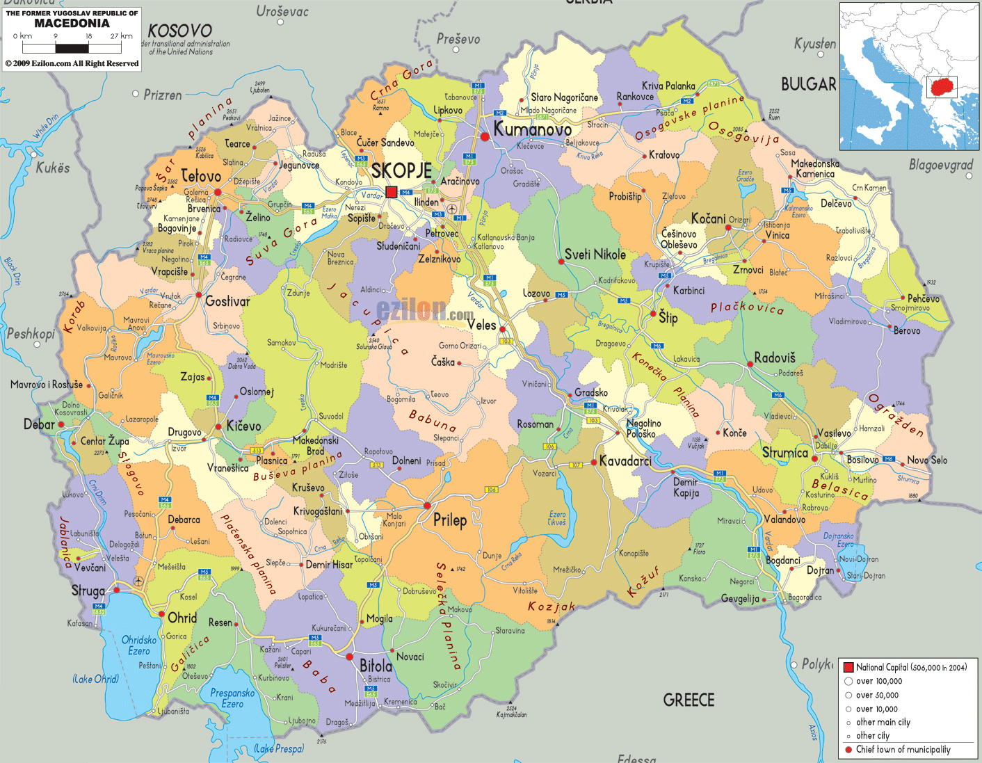 Maps of macedonia detailed map of macedonia in english tourist detailed political and administrative map of macedonia with roads cities and airports publicscrutiny Image collections