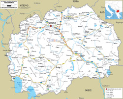 Detailed road map of Macedonia with cities and airports.