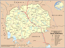 Large political and administrative map of Macedonia with roads and cities.