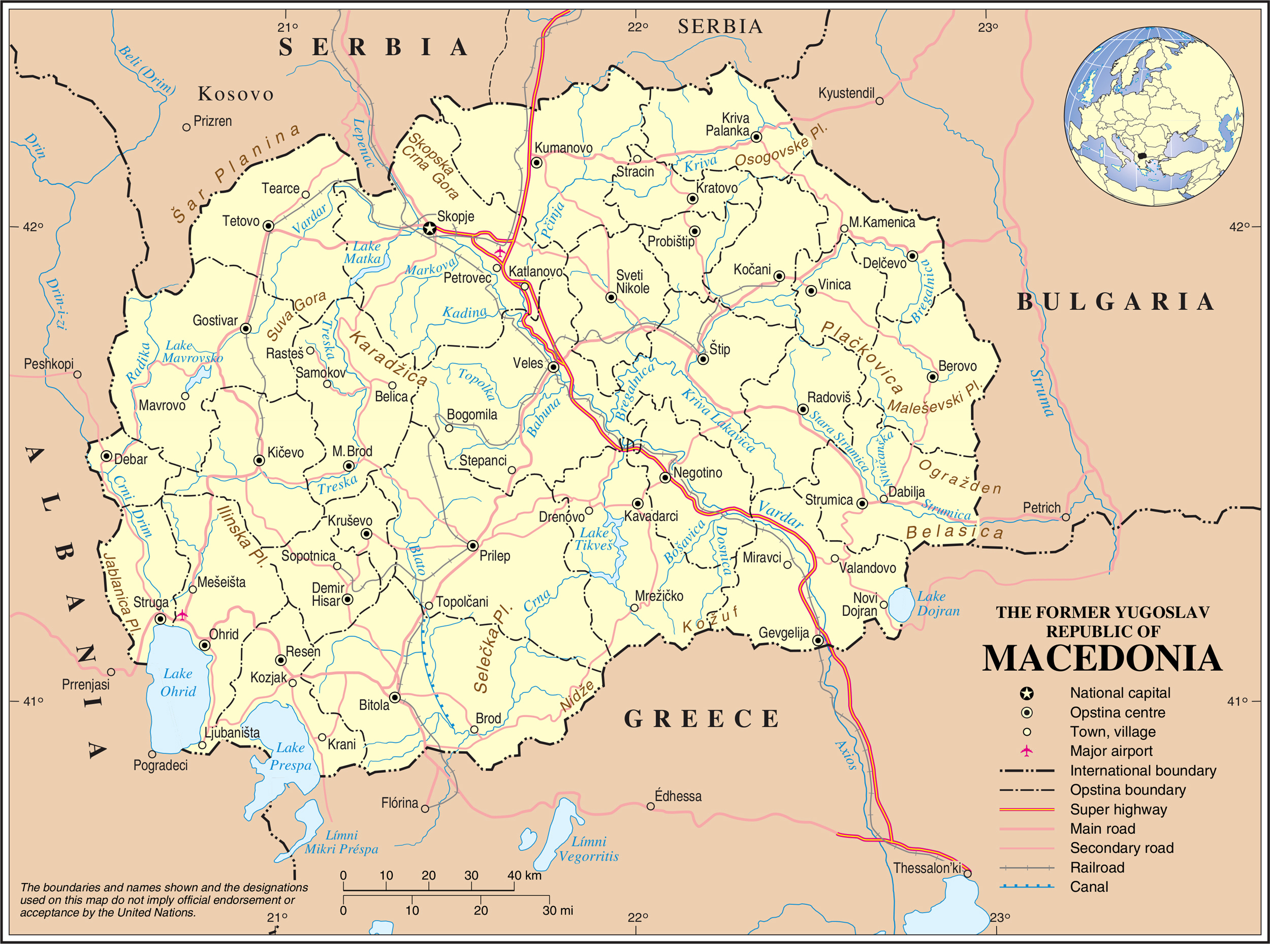 Maps: Detailed Map Of Macedonia In English