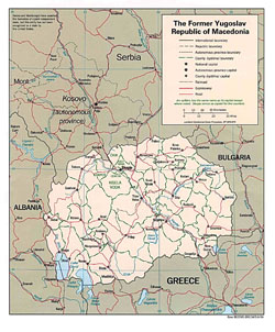 Political and administrative map of Macedonia with roads and cities.