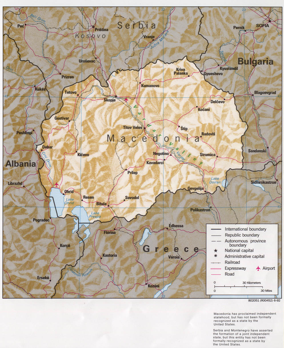 Maps of macedonia detailed map of macedonia in english tourist political map of macedonia with relief roads cities and airports publicscrutiny Choice Image