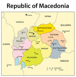Small administrative map of Macedonia.