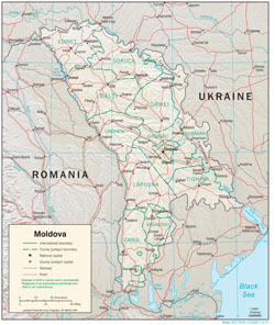 Large political and administrative map of Moldova with relief, roads and cities.