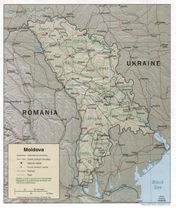 Political and administrative map of Moldova with relief, roads and cities.