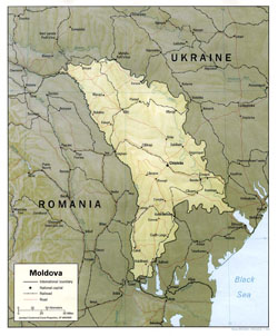 Political map of Moldova with relief, roads, railroads and cities.