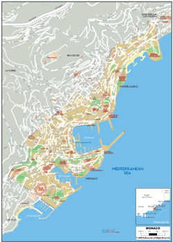 Detailed road map of Monaco with buildings.