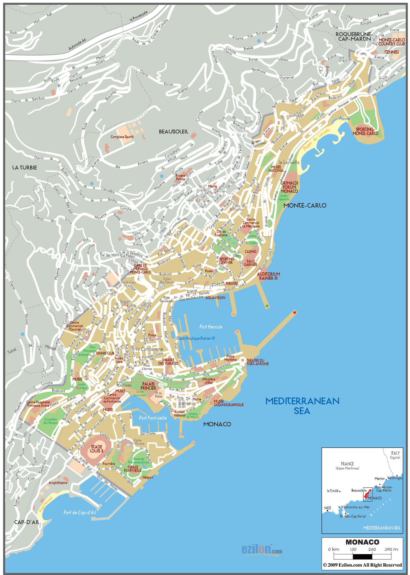 maps of monaco detailed map of monaco in english. Black Bedroom Furniture Sets. Home Design Ideas