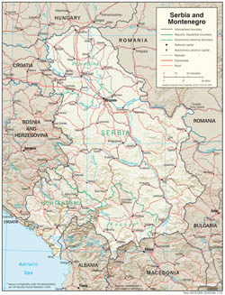 Detailed political and administrative map of Serbia and Montenegro with relief, roads and cities.