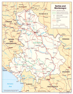 Political and administrative map of Serbia and Montenegro with roads and cities.