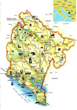 Tourist map of Montenegro.
