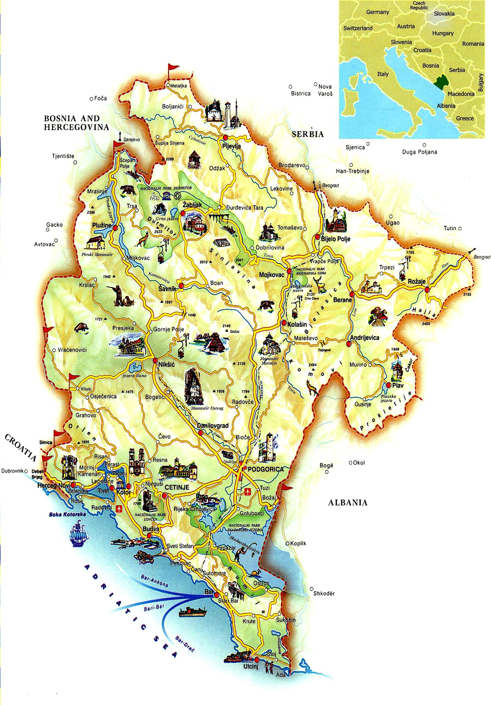 Maps of Montenegro – Tourist Map Ireland
