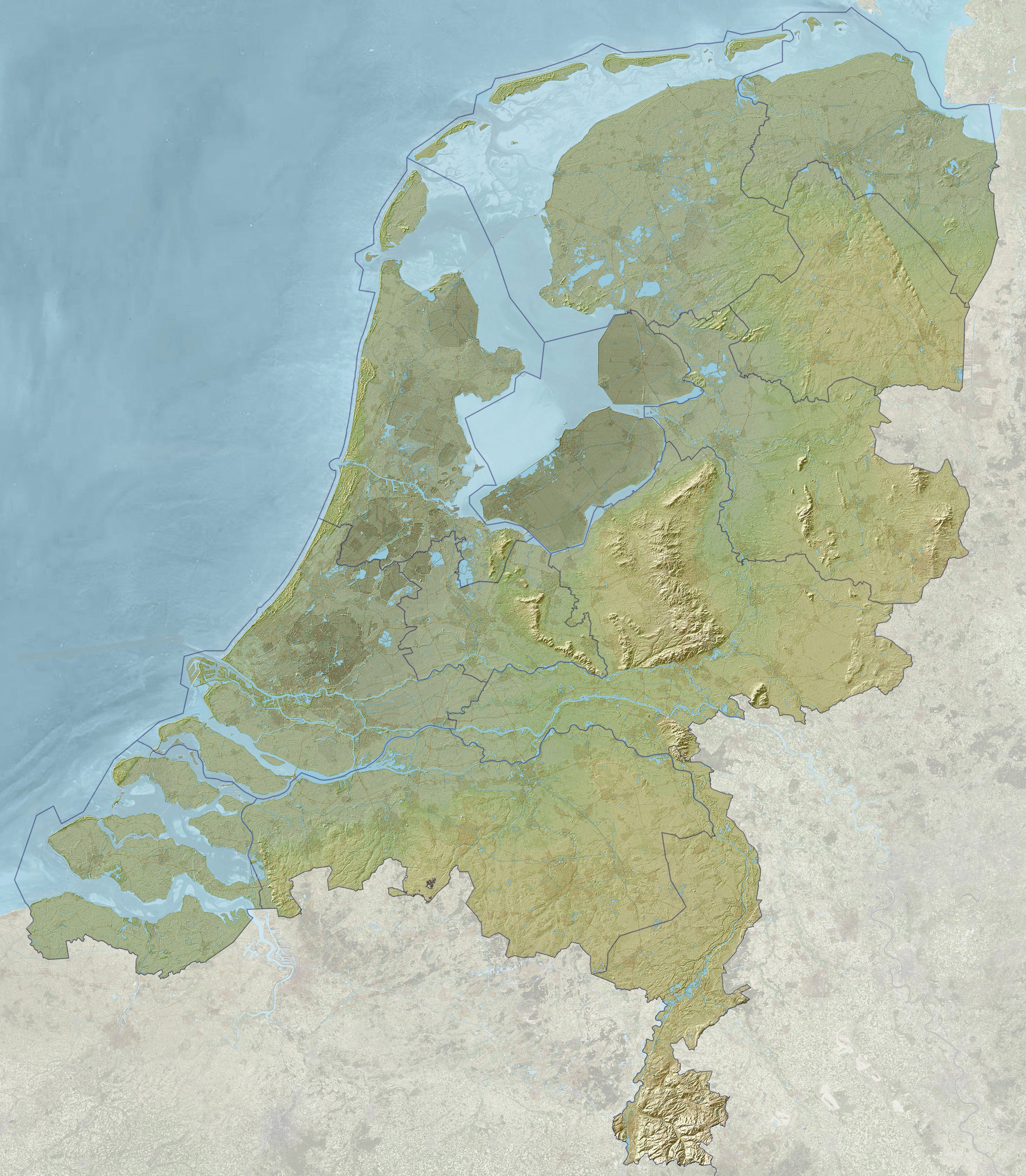 Detailed relief map of Netherlands Maps of