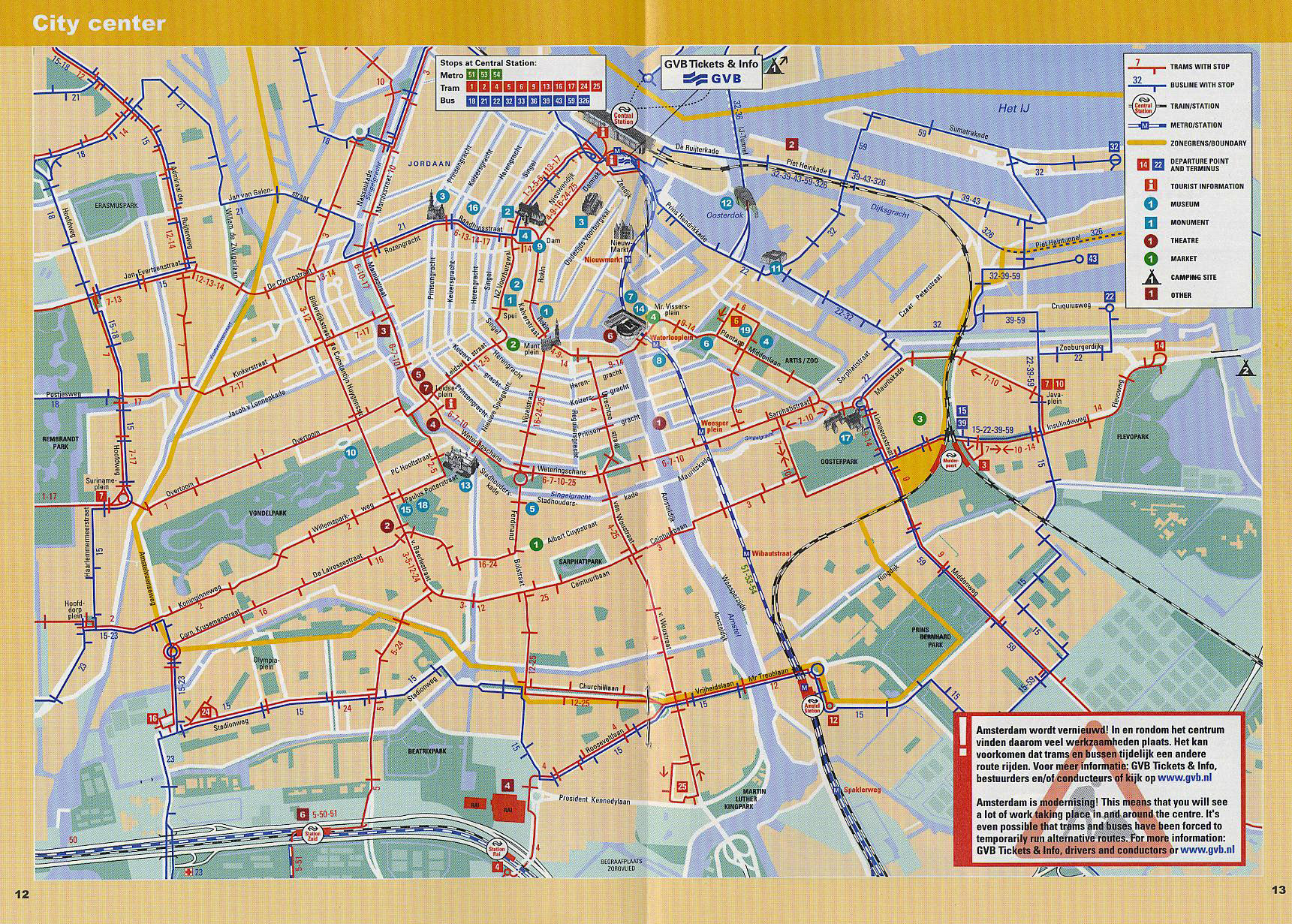 Maps of amsterdam detailed map of amsterdam in english maps of large detailed tram and metro map of central part of amsterdam city publicscrutiny Images