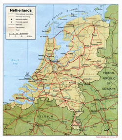 Political map of Holland with relief, roads and cities.