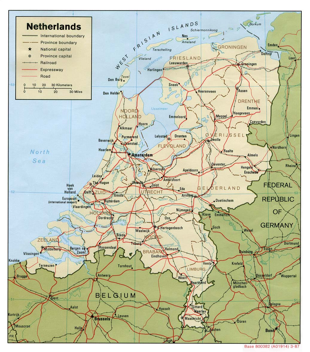 Maps of holland detailed map of holland in english tourist map political map of netherlands with roads and cities sciox Images