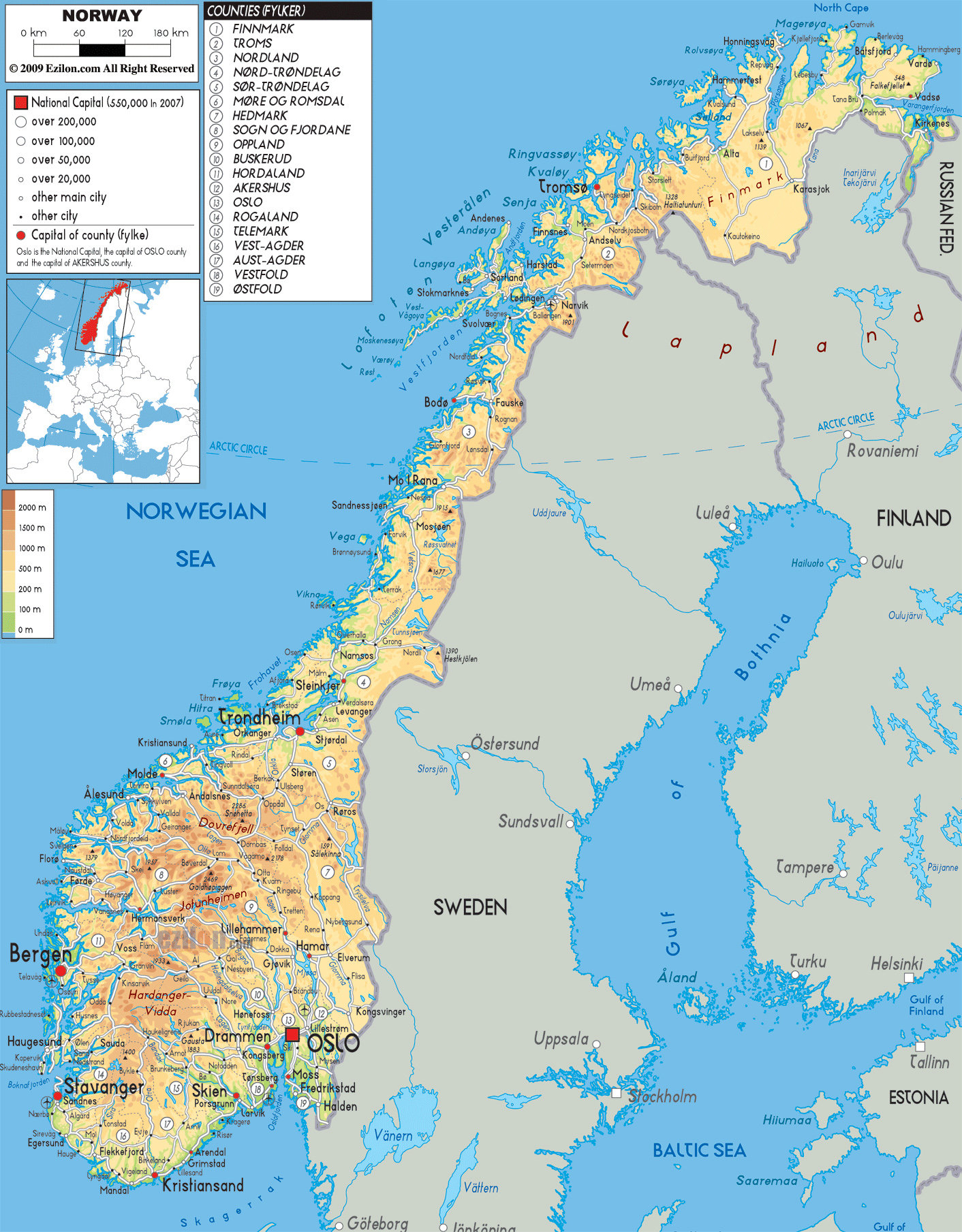 Norway On Europe Map.Maps Of Norway Detailed Map Of Norway In English Tourist Map Of