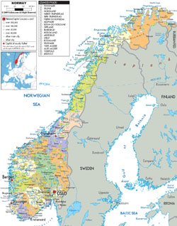 Detailed political and administrative map of Norway with all roads, cities and airports.