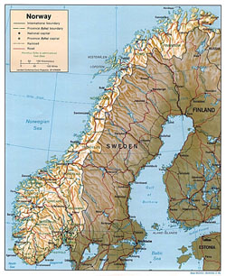 Political and administrative map of Norway with relief, roads and cities.