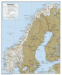Political and administrative map of Norway with relief.
