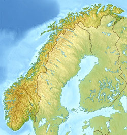 Relief map of Norway.