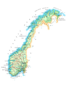 Road map of Norway with cities and airports.