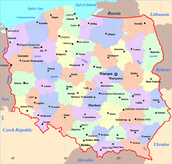 Administrative map of Poland.