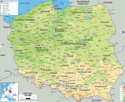 Detailed physical map of Poland with all cities, roads and airports.