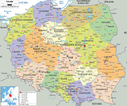 Detailed political and administrative map of Poland with all cities, roads and airports.