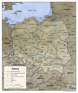 Detailed political and administrative map of Poland with relief, roads and cities.