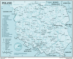 Detailed political map of Poland with roads, railroads, cities and airports.