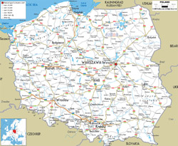 Detailed road map of Poland with all cities and airports.