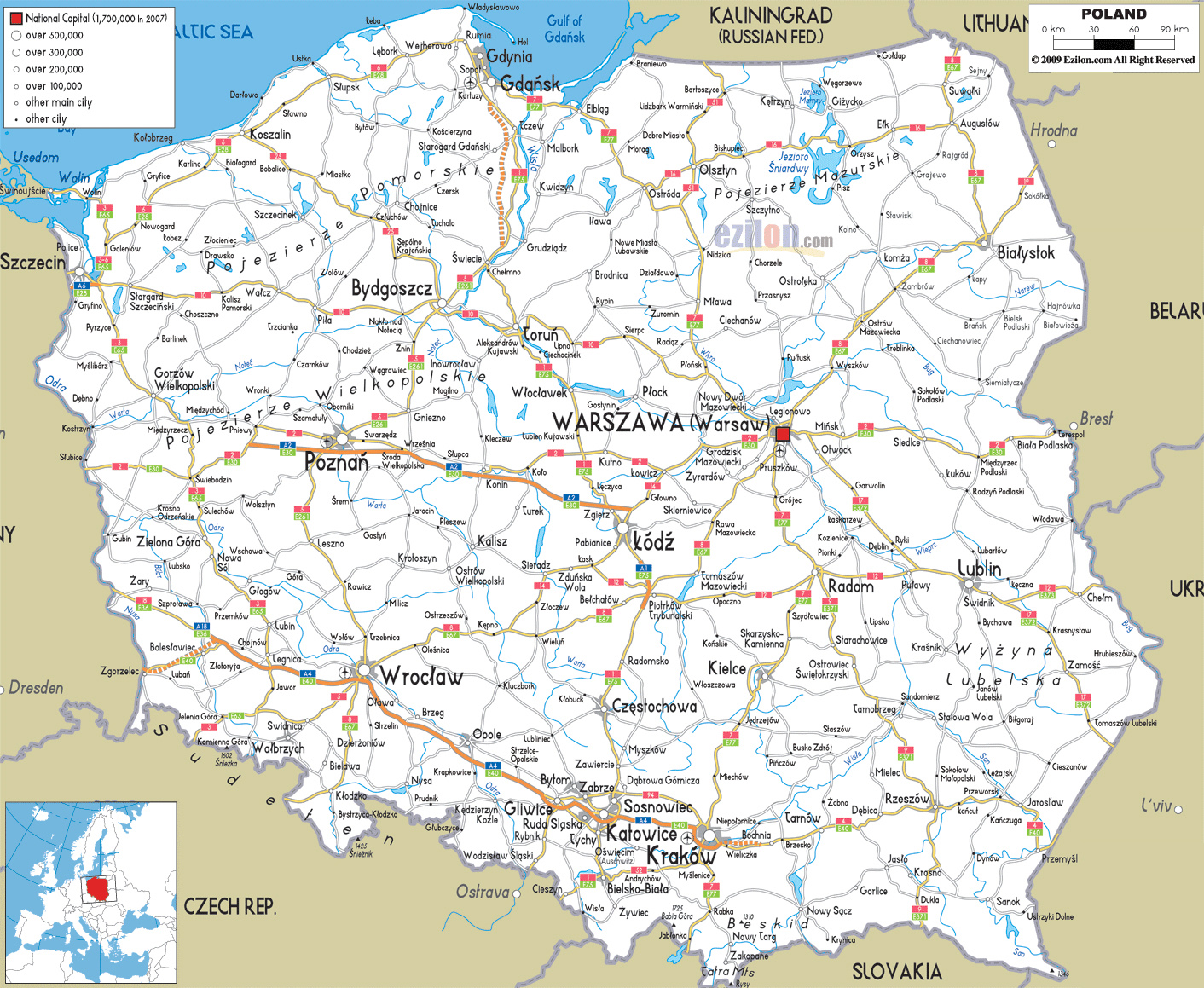 Maps of Poland | Detailed map of Poland in English | Tourist map of ...