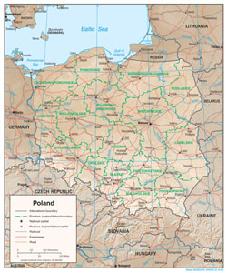 Large political and administrative map of Poland with relief, roads and cities.