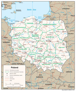 Large political and administrative map of Poland with roads and cities.