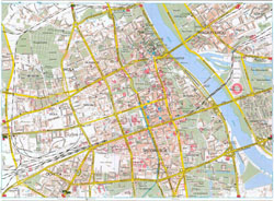 Detailed road map of Warsaw city center.